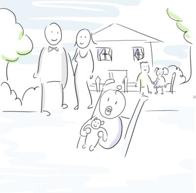 famille dessiné en personnage baton